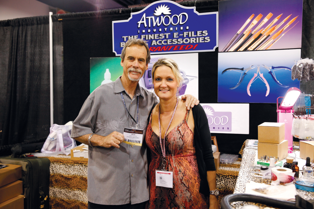 <p>Atwood Industries&rsquo; Bruce Atwood and head educator Nicole Knight had a good time showing e-file products at their booth.</p>