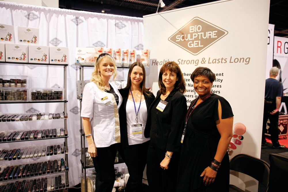 <p>Bio Sculpture Gel&rsquo;s Tera Anway, Melody Visser, Elsie Visser, and Juton Strickland promoted the company&rsquo;s gel products and new nail art charms.</p>