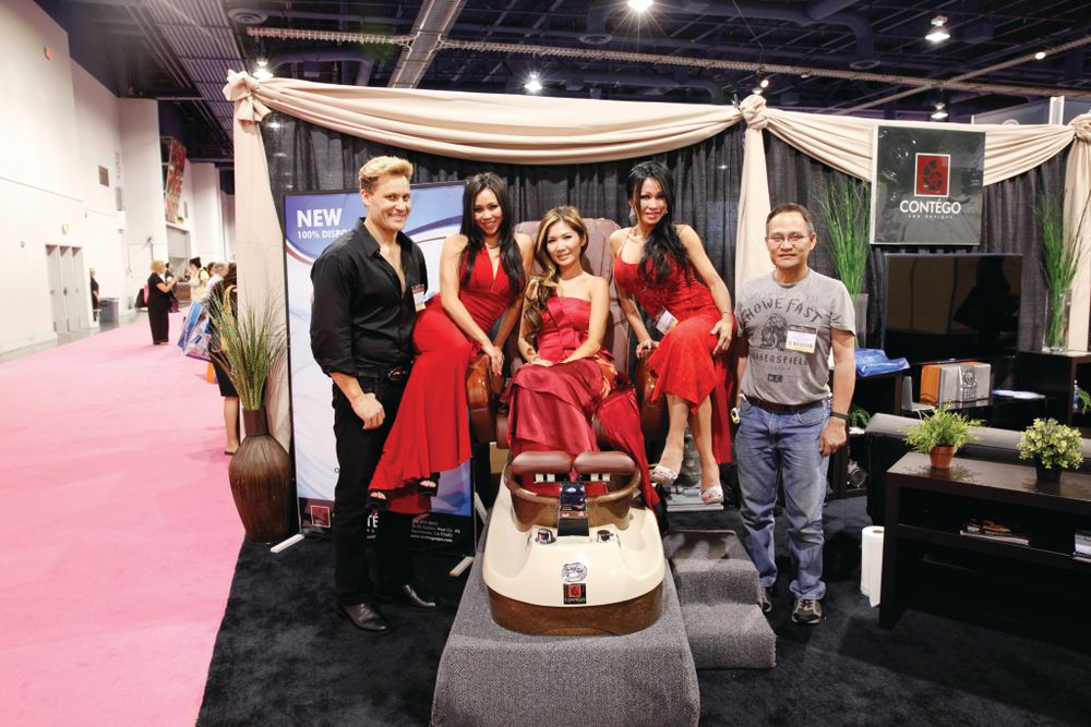 <p>Contego Spa&rsquo;s Paul Bogart, Lindsey Ta, Leena Nhan, Michelle Ta, and Peter Ta promoted their new pedicure spa chair with completely disposable tub liners.</p>
