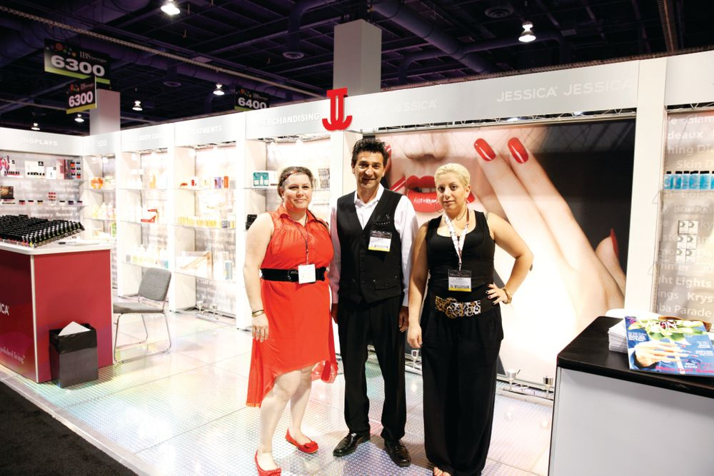 <p>Jessica Cosmetics&rsquo; Talin Tamamian,&nbsp; Peter Sarkissian, and Anie Mardirosian showed attendees the company&rsquo;s newest products in their stylish booth.</p>