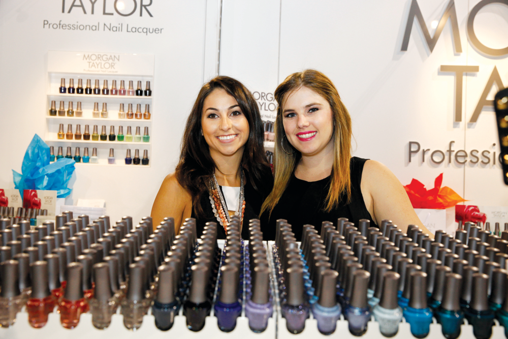 <p>Morgan Haile and Taylor Daniel pose with their eponymous nail polish line.</p>