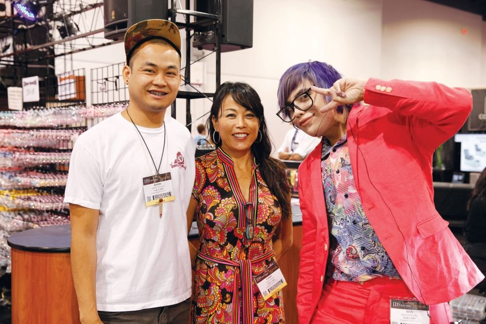 <p>Nail Labo&rsquo;s Jimmy Nguyen, Yoko Ohno, and Max Estrada greeted show attendees with style.</p>