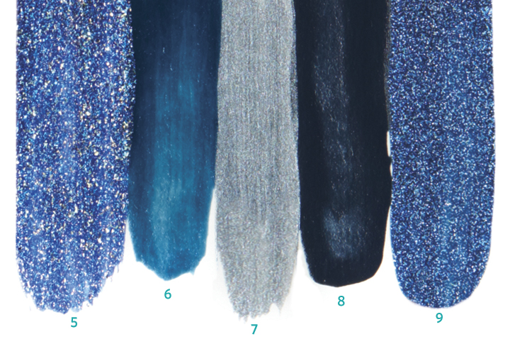 <p>5. <strong>Cacee</strong> Skylar<br />6. <strong>Dare to Wear</strong> Serene Reflection<br />7. <strong>China Glaze</strong> Kiss My Glass<br />8. <strong>Morgan Taylor</strong> Denim Du Jour<br />9. <strong>Cuccio</strong> Cobalt Cool</p>