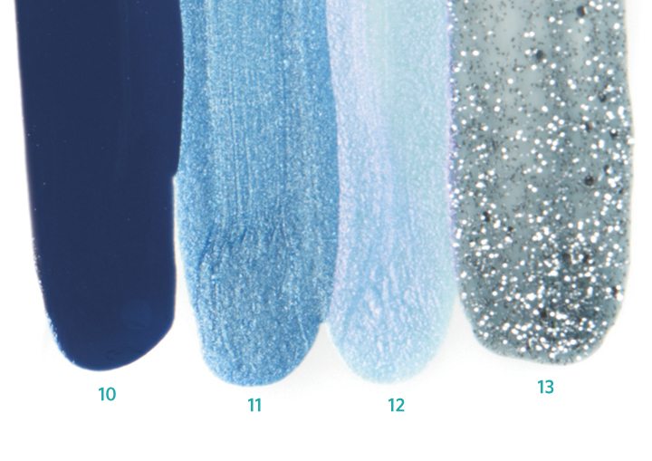 <p>10. <strong>Alessandro</strong> Blue Lagoon<br />11. <strong>OPI</strong> Dining Al Frisco<br />12. <strong>Orly</strong> Angel Rain<br />13. <strong>Cuccio</strong> Vegas Vixen</p>