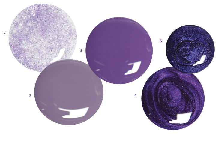 <p>1. <strong>Orly</strong> Pixie Powder<br />2. <strong>Morgan</strong> <strong>Taylor</strong> Met My Match<br />3. <strong>Dare to </strong>Wear Celestial<br />4. <strong>Cuccio</strong> Brooklyn Never Sleeps<br />5. <strong>Jessica</strong> Prima Donna</p>