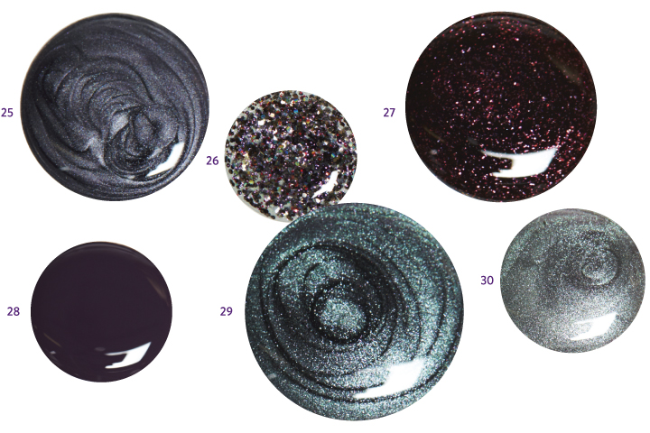 <p>25. <strong>China</strong> <strong>Glaze</strong> Public Relations<br />26. <strong>Orly</strong> Digital Glitter<br />27. <strong>Morgan Taylor</strong> Seal the Deal<br />28. <strong>China Glaze</strong> Charmed I&rsquo;m Sure<br />29. <strong>OPI</strong> Peace &amp; Love &amp; OPI<br />30. <strong>Essie</strong> For the Twill of it</p>