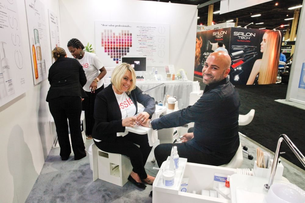 <p>Essie educator Kim Tucker makes sure Gino Trunzo is well-manicured for the show.</p>