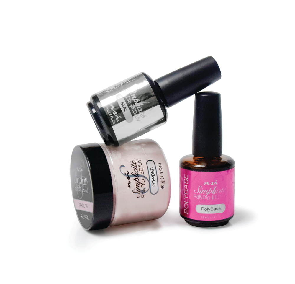 "<p>NSI's Simplicité PolyDip system uses poly bonded oligomer technology for a light-cured system  that allows a faster service and keeps clients' nails stronger and healthier. The odorless system can be used for natural nail and tip overlays. The formula bonds to the natural nail, absorbs the polymer, and, once cured, stays strong, durable, and flexible. Simplicité polymers absorb into the oligomer without losing the clarity or color of the powder.<br /><a href=""http://www.nsinails.com"">www.nsinails.com</a></p>"