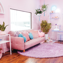 The salon interior is primarily pink, which represents Jason's pink hair and gender non-conformity.