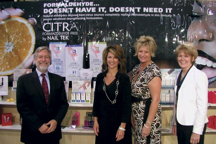 <p>Nail Tek president Stu Williamson and his trusty compatriots introduced Citra, a new Hydration Therapy line made from a naturally occurring aldehyde derived <br />from citrus.</p>