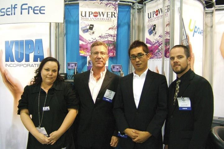 <p>Kupa&rsquo;s Sarah Smith, Richard Hurter, and Robert Arthur, welcomed their Japanese business associate, Hirofumi Matsugi (second from right). The company is celebrating the 20th anniversary of its signature U-Power e-file this year.</p>