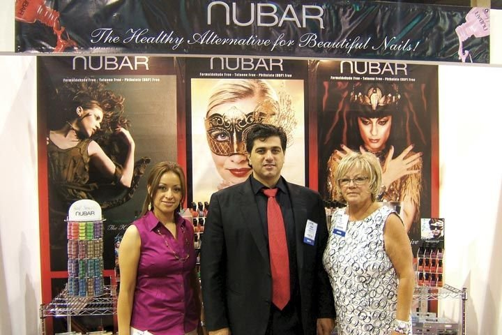 <p>Maggie Moreno, Noubar Abrahamian, and new education director Vicki Peters were eagerly greeting attendees to show Nubar&rsquo;s expanded range of products, including spa products, gels, and nail art accessories.</p>