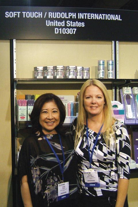 <p>Soft Touch president Louise Rudolph stands with marketing manager Shelley Taylor-Wilson. The two had new Cool Blue Buffers to display as well as the classic Overcoat line and hand files.</p>