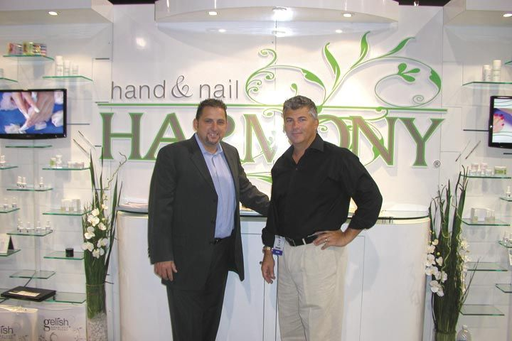 <p>Hand &amp; Nail Harmony&rsquo;s David Daniel and Danny Haile had a new LED light on hand, which makes applying Gelish even quicker than with a regular UV lamp.</p>