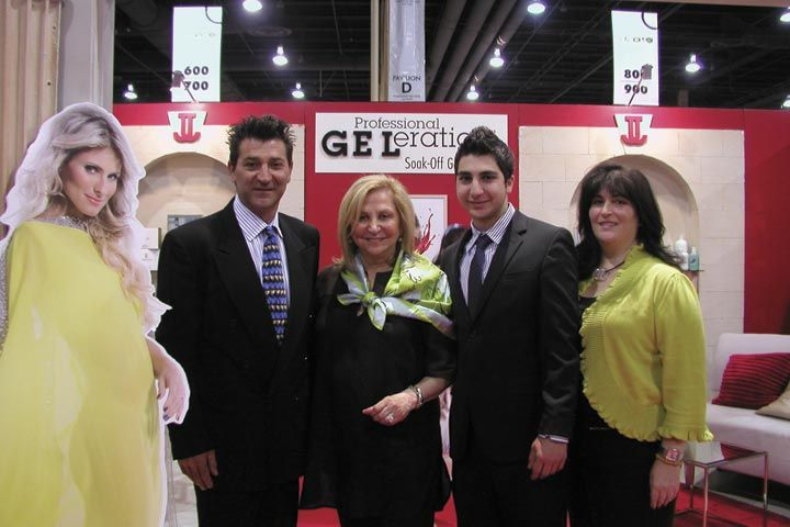 <p>Peter Sarkissian, Jessica Vartoughian, Alexander Sarkissian, and Valerie Celia pose with Lola (left), the new face of GELeration, Jessica&rsquo;s new brush-on gel polish.</p>