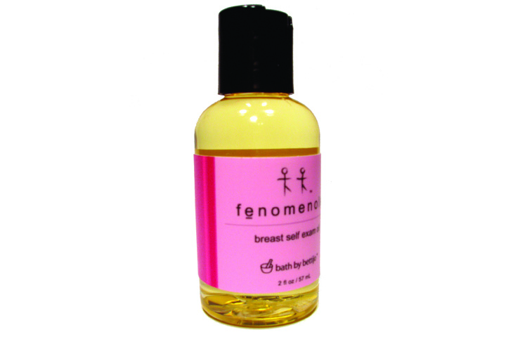 """<p>Monthly breast exams are easy to do on your own with <a href=""""http://www.bathbybettijo.com"""">Bath By Bettijo&rsquo;s</a> Fenomenole, an all-natural oil blend of pure pink grapefruit essential oil made specifically to remind women to perform monthly self-breast exams. During the month of October Bath By Bettijo will donate 25% of the proceeds from the sale of Fenomenole to the American Cancer Society.</p>"""