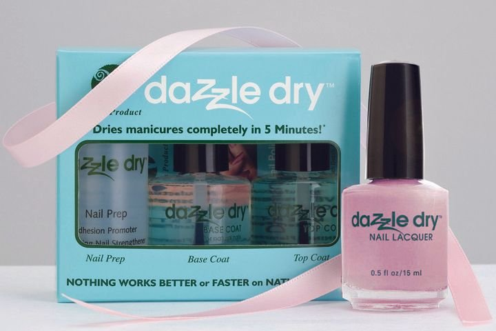 "<p>The <a href=""http://vbcosmetics.com"">Dazzle Dry</a> three-piece vegan quick-dry nail polish system kit includes a Nail Prep, Dazzle Dry base coat, and Dazzle Dry top coat. It is accompanied by the Soft Caress pink shade of Dazzle Dry Nail Polish. During the month of October, 20% of the proceeds will benefit the Susan G. Komen Foundation. Soft Caress polish can also be purchased separately and a donation will be made.</p>"
