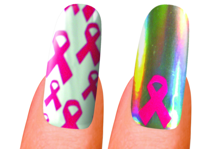 """<p><a href=""""http://www.minxnails.com"""">Minx</a> will be offering two breast cancer awareness designs. One design is tile-patterned with the pink ribbon on top of a white background. The other features one pink ribbon that pops out from the metallic base. Minx donates $5 from every purchase of a Minx-A-Cure template to the Breast Cancer Research Foundation.</p>"""