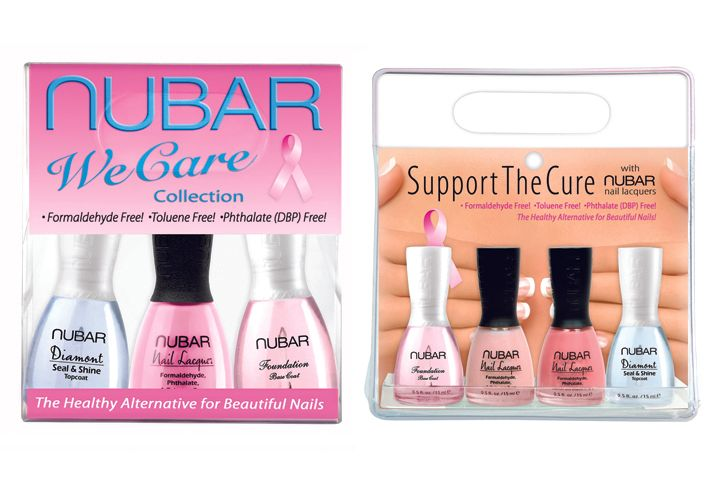 "<p><a href=""http://www.bynubar.com"">Nubar&rsquo;s</a> Support the Cure 4-pack includes two pink shades &mdash; Pink Cami and Je T&rsquo;aime &mdash; a foundation base coat, and Diamont Seal &amp; Shine. Nubar will donate 10% of the retail price to St. Jude Children&rsquo;s Research Hospital, the Cancer Treatment Research Foundation, and the City of Hope. The We Care 3-Piece Collection from Nubar includes a pink nail lacquer, a base coat, and Diamont Seal &amp; Shine. For each collection sold, Nubar will donate 10% of the proceeds to the City of Hope&rsquo;s Los Angeles Walk for Hope to Cure Breast Cancer.</p>"