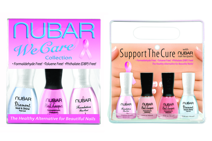 """<p><a href=""""http://www.bynubar.com"""">Nubar&rsquo;s</a> Support the Cure 4-pack includes two pink shades &mdash; Pink Cami and Je T&rsquo;aime &mdash; a foundation base coat, and Diamont Seal &amp; Shine. Nubar will donate 10% of the retail price to St. Jude Children&rsquo;s Research Hospital, the Cancer Treatment Research Foundation, and the City of Hope. The We Care 3-Piece Collection from Nubar includes a pink nail lacquer, a base coat, and Diamont Seal &amp; Shine. For each collection sold, Nubar will donate 10% of the proceeds to the City of Hope&rsquo;s Los Angeles Walk for Hope to Cure Breast Cancer.</p>"""