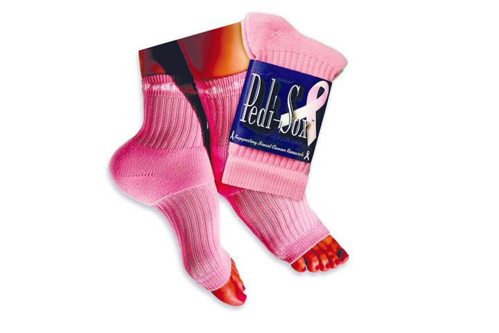 "<p>All year <a href=""http://www.originalpedisox.com"">Pedi Sox, Inc.</a> donates $1 for every pair sold of The Original Pedi-Sox in the Pinky Solid Pink color to the Susan G. &shy;Komen Foundation. Pedi-Sox designs toeless socks that can be worn during pedicures or for general comfort. These are particularly great for wintertime pedicures.</p>"