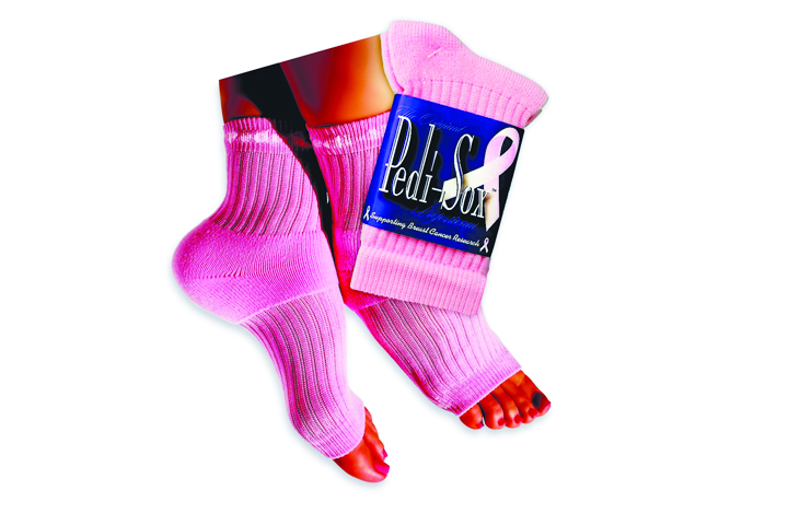 """<p>All year <a href=""""http://www.originalpedisox.com"""">Pedi Sox, Inc.</a> donates $1 for every pair sold of The Original Pedi-Sox in the Pinky Solid Pink color to the Susan G. &shy;Komen Foundation. Pedi-Sox designs toeless socks that can be worn during pedicures or for general comfort. These are particularly great for wintertime pedicures.</p>"""