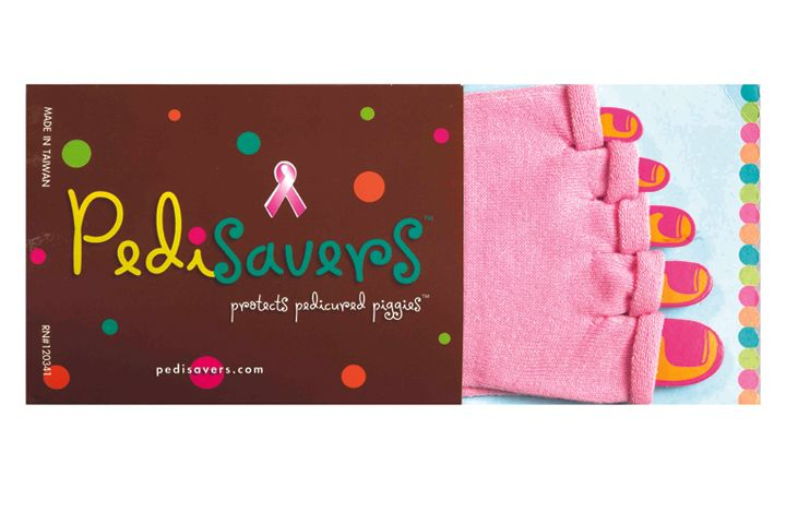 "<p>A portion of these pink <a href=""http://www.pedisavers.com"">Pedisavers</a> will go to the Susan G. &shy;Komen Foundation. Pedisavers are toe socks without the tips so the feet can stay warm during polishing. Put the sox on right before any polishing begins, and wear them right out of the salon.</p>"