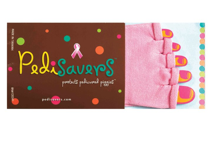 """<p>A portion of these pink <a href=""""http://www.pedisavers.com"""">Pedisavers</a> will go to the Susan G. &shy;Komen Foundation. Pedisavers are toe socks without the tips so the feet can stay warm during polishing. Put the sox on right before any polishing begins, and wear them right out of the salon.</p>"""