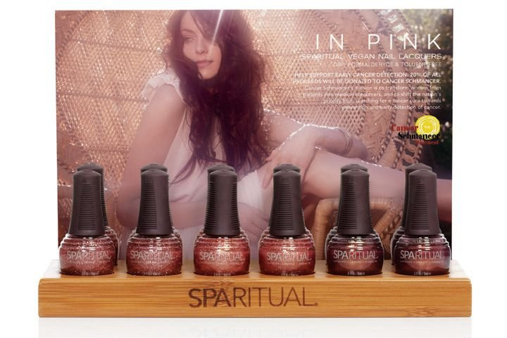 "<p><a href=""http://www.sparitual.com"">SpaRitual</a> offers its In Pink 2011, a collection of three nail lacquers &mdash; Clarity, Knowledge, and Strength &mdash; in which 20% of all proceeds will be donated to Cancer Schmancer, an early detection education and cancer advocacy program developed by actress Fran Drescher. All SpaRitual products are free of DBP, toluene, formaldehyde, and formaldehyde resin.</p>"