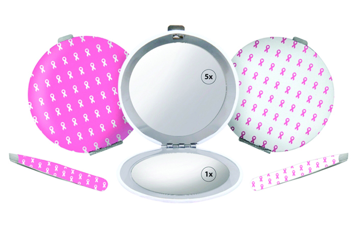 """<p>In this collection from <a href=""""http://www.spilo.com"""">Spilo Worldwide&rsquo;s</a> Toolworx by Personna, 2.5-in. Mini Tweezers and a coordinating Compact Mirror will support Expedition Inspiration through a portion of the proceeds from each product sold. The mirror is both a 1X and 5X magnification mirror. The items are available separately in either pink with white breast cancer awareness ribbons or in white with pink ribbons.</p>"""