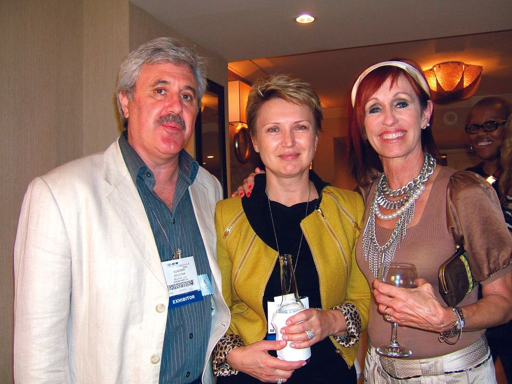 <p>Belava&rsquo;s Vladimir and Natalie Zolotnik with Famous Names&rsquo; Linda Nordstrom</p>