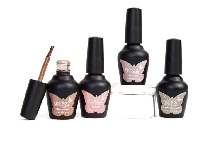 "<p><a href=""http://www.ezflow.com/index_flash.html"">EzFlow&rsquo;s</a> Gelez has four rich gel polishes to put you in the mood for fall. The gels offer smooth application and a high-gloss shine and can be applied over tips, acrylics, gels, and natural nails for brilliant, long-wearing color. The shades are Silk, a peachy nude; Mau-Jave, a sandy greige; Champagne Wishes, a glittery nude; and Maple Syrup, a brown glitter.</p>"