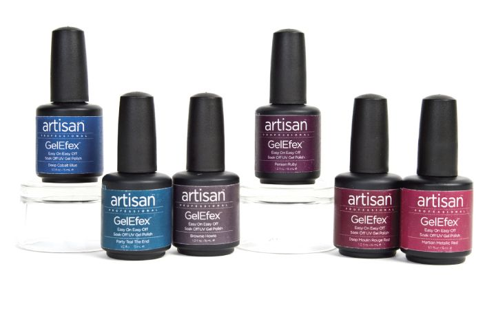 "<p><a href=""https://www.nailsuperstore.com/home.aspx"">Nail Superstore&rsquo;s</a> Artisan Professional GelEfex color soak-off gels have six new colors for fall. The colors are Party Teal the End, Deep Moulin Rouge Red, Martian Metallic Red, Brownie Howie, Deep Cobalt Blue, and Persian Ruby.</p>"