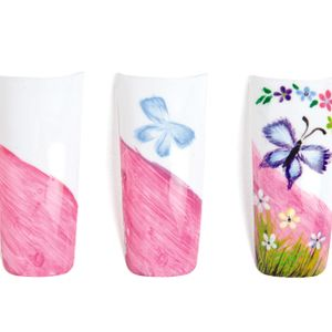 Add green blades of grass. Accent them with black. Add pink and white flowers with black centers...