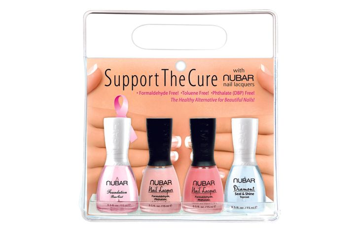 "<p class=""sidebar-WhitneyBASICTEXT""><strong>Nubar</strong> has come out with its Support the Cure package of four nail lacquers for breast cancer awareness. They are formaldehyde, toluene, and phthalate free. Fifty percent of the sales in October will go to breast cancer research.</p> <p class=""sidebar-WhitneyBASICTEXT""><a href=""http://www.bynubar.com"">www.bynubar.com</a></p>"