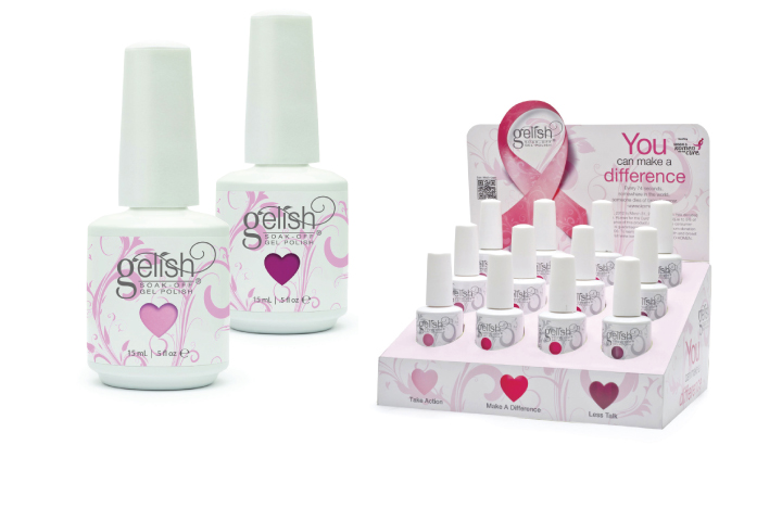 "<p class=""sidebar-WhitneyBASICTEXT""><strong>Hand and Nail Harmony's</strong> Gelish has come out with three pink shades of gel-polish this year and will be donating a percentage of its sales to the Susan G. Komen Foundation. The three colors are a cotton-candy pink called Take Action, a coral pink called Make a Difference, and a magenta called Less Talk. These colors are available as single bottles and as a 12-piece counter display with four bottles of each color.</p> <p class=""sidebar-WhitneyBASICTEXT""><a href=""http://www.gelish.com"">www.gelish.com</a></p>"