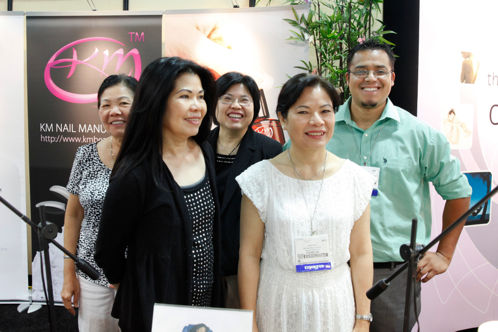 <p>The KM Nails team promoted some of their many products at the show.</p>
