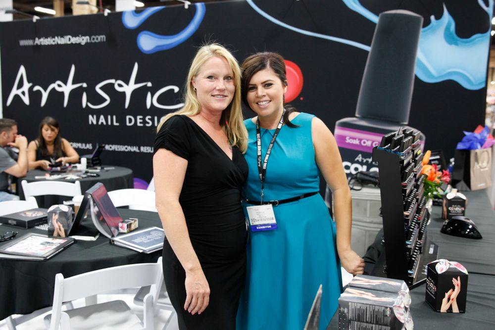 <p>Artistic Nail Design head educator Teresa Wise and brand manager Kim Duenas</p>