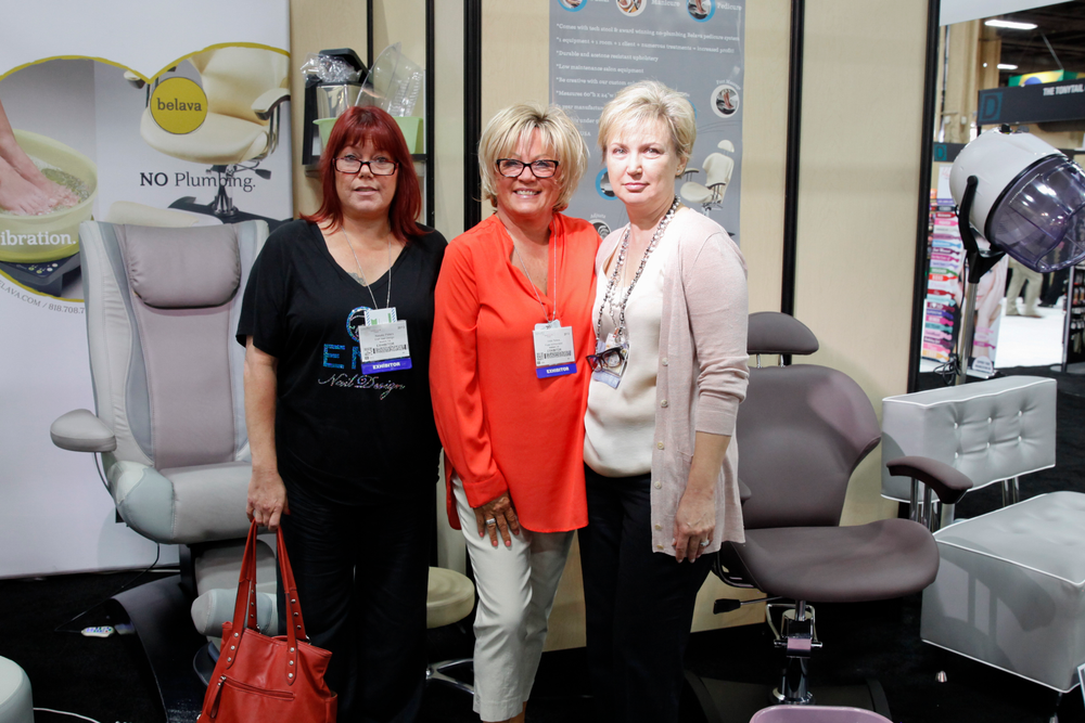 <p>Sisters Natalie and Vicki Peters met with Belava&rsquo;s Natalie Zolotnik to see Belava&rsquo;s pedicure chairs that hold their heater/massager unit.</p>