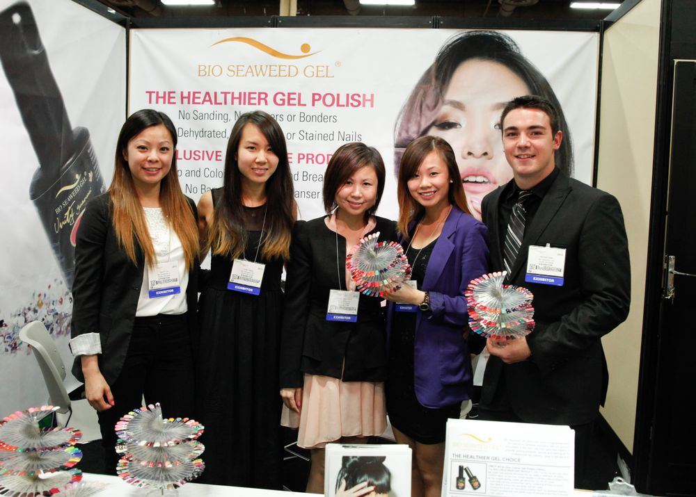 <p>Bio Seaweed Gel&rsquo;s Sarah Luu, Linda Giang, Amy Giang, Hellen Luu, and Mitchell Vasil show off the company&rsquo;s many gel-polish colors.</p>