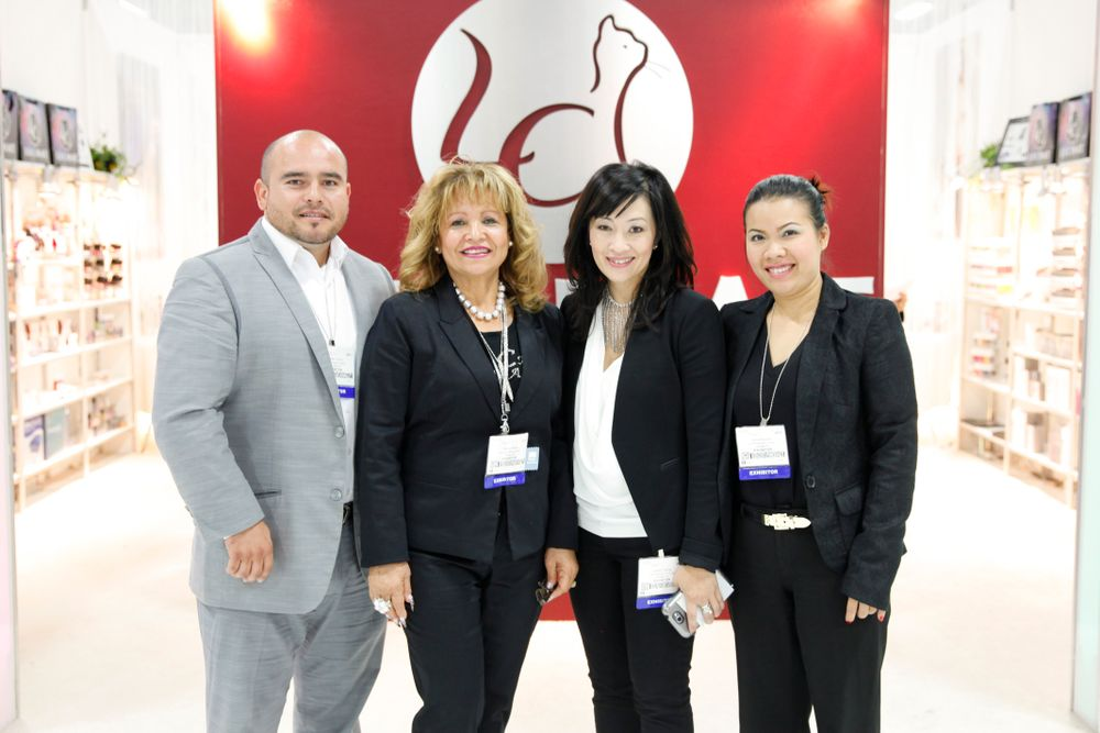 <p>LeChat&rsquo;s Carlos Torres, Blanca Reyes, Jacky Truong, and Jenny Nguyen welcomed attendees to their booth and to their many new products.</p>
