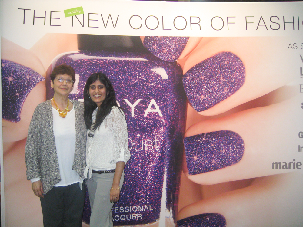 <p>Zoya founder Zoya Reyzis takes time out of her busy schedule to meet and greet with show attendees, including NAILS&rsquo; Sree Roy.</p>
