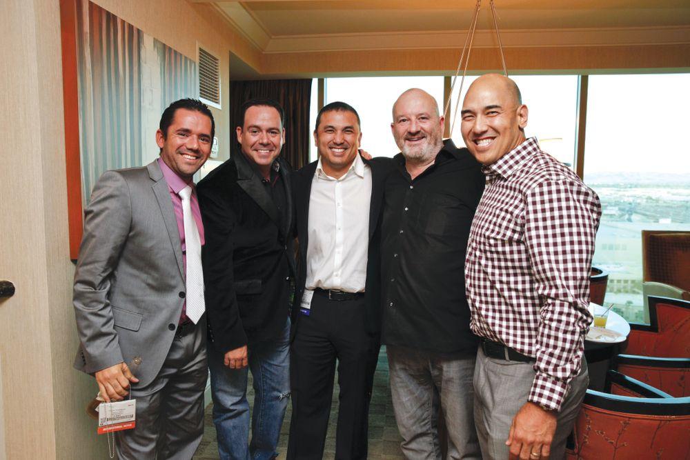 <p>Organics Nails' Oscar Rodriguez, Luis Rodriguez, Young Nails&rsquo; Habib Salo, John O&rsquo;Sullivan, and Greg Salo</p>