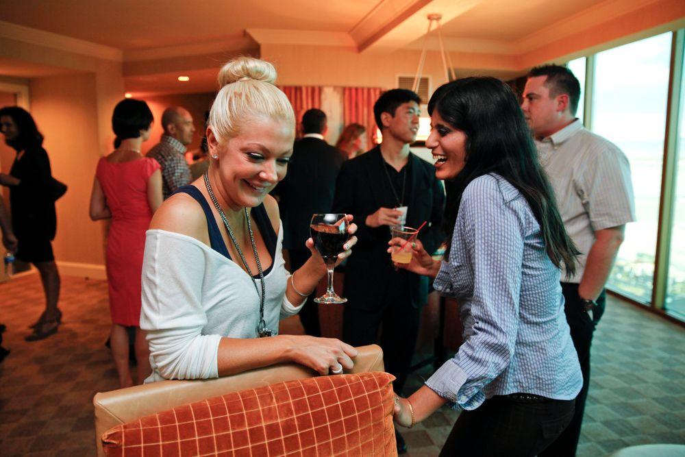<p>Reality TV star Katie Cazorla and NAILS' Sree Roy</p>