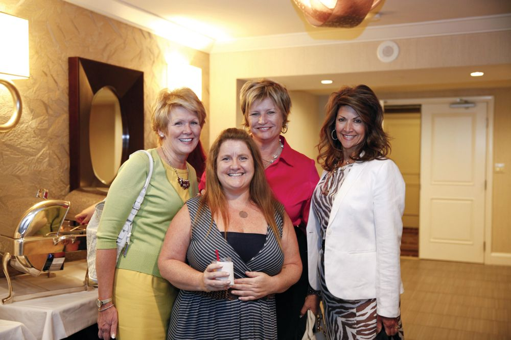 <p>NAILS' Hannah Lee (front) with Dashing Diva's Peggy Bellafiore, Cindy Atkins, and Judith Fairn</p>