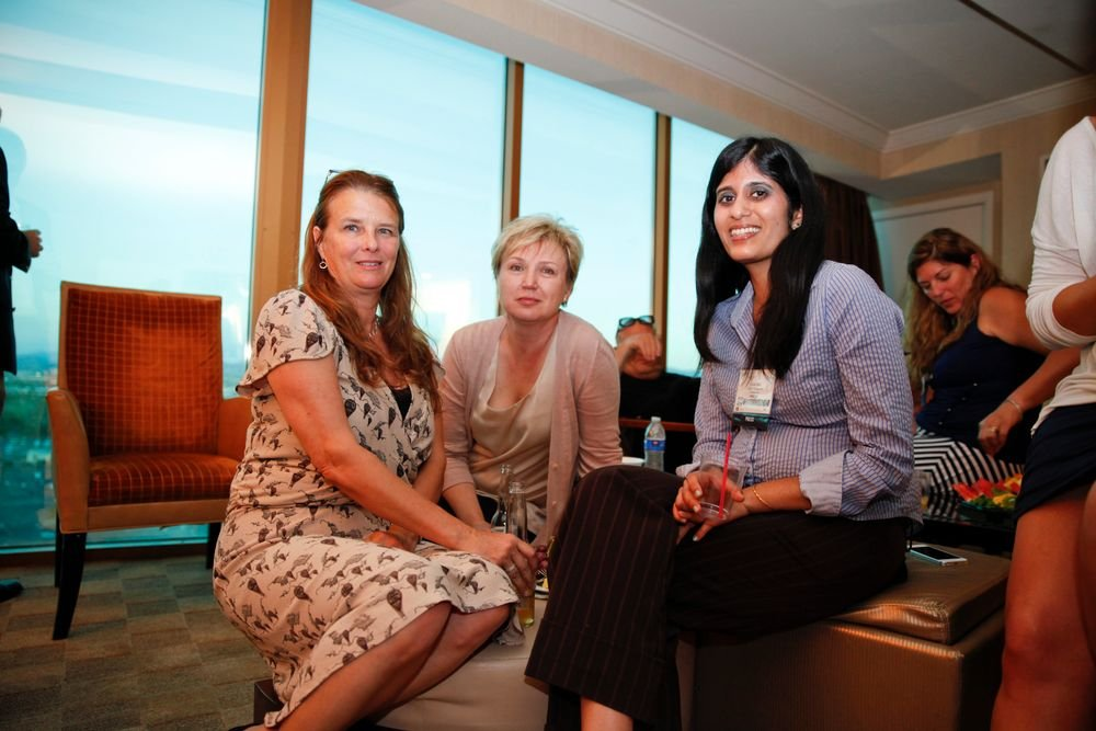 <p>Belava's Alison Till Harris and Natalie Zolotnik with NAILS' Sree Roy</p>