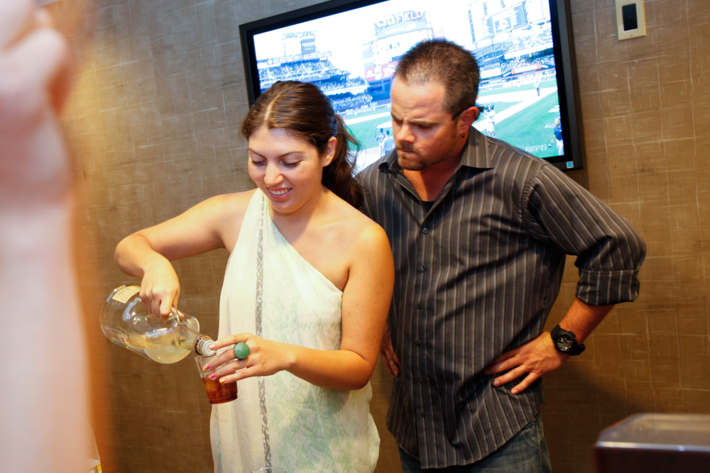 <p>NAILS' Beth Livesay steals Kupa's Robert Arthur's job for a second to create her own beverage concoction.</p>