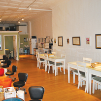 The interior of the salon features sixpedicure stations, four manicure spots,and one facial...