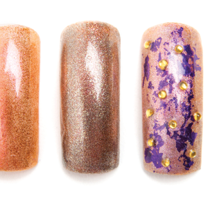 Add purple foil onto the tacky layer and cover with a gel top coat. Add yellow rhinestones, and...