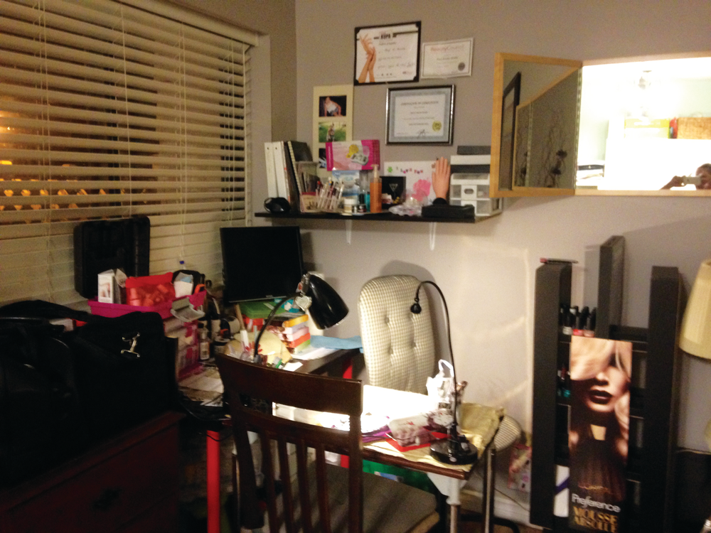 <p><strong>Nancy Monchez-Muralles, Surrey, British Columbia, Canada</strong><br />@AddictionbyNail<br />My space is in a little corner of my living room. It has all the items I use regularly such as my polishes (both gel and traditional), acrylics, gels, prep items, etc. I usually work on my creativity at night once my kids and family are asleep.</p>